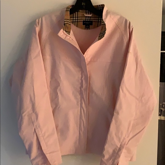 Burberry Cotton Golf Jacket w/Plaid-Lined Collar